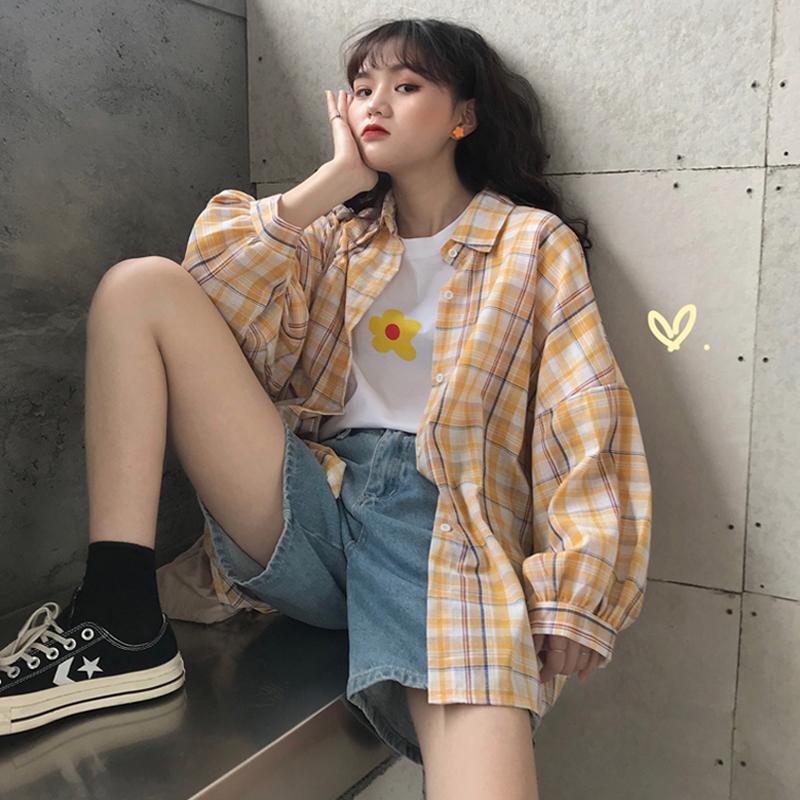 心机上衣2019新款韩版宽松polo衫格子衬衫女设计感小众防晒衣衬衣(非品牌)