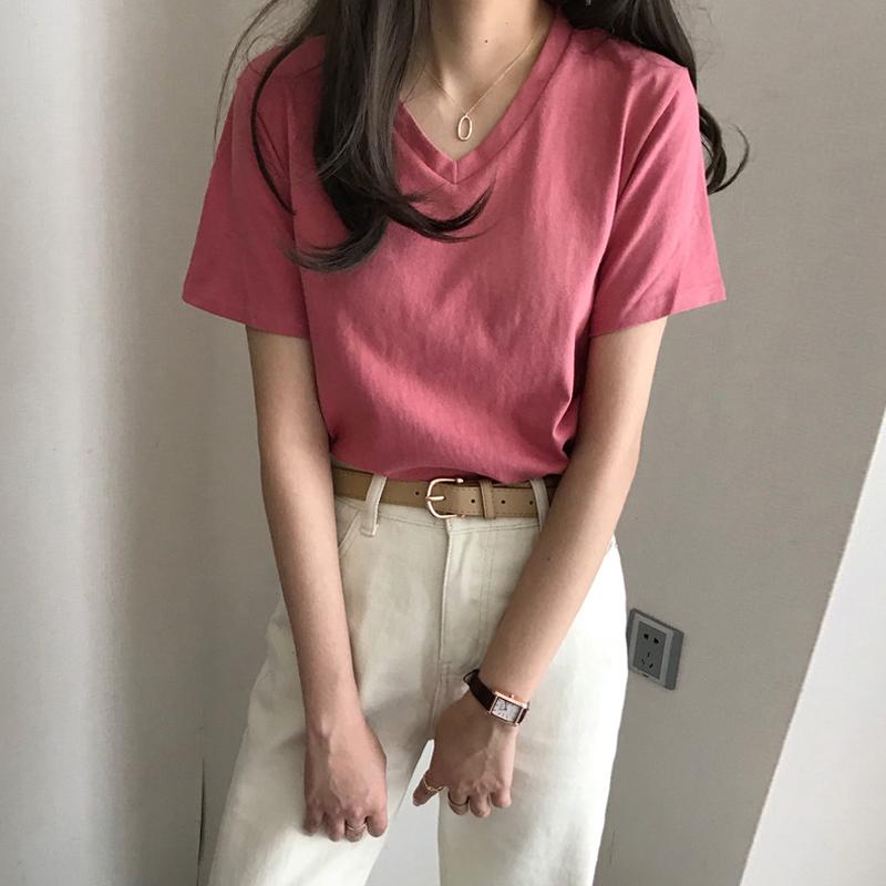 夏季2020年新款韩版宽松内搭V领纯色短袖打底上衣网红t恤女ins潮图片