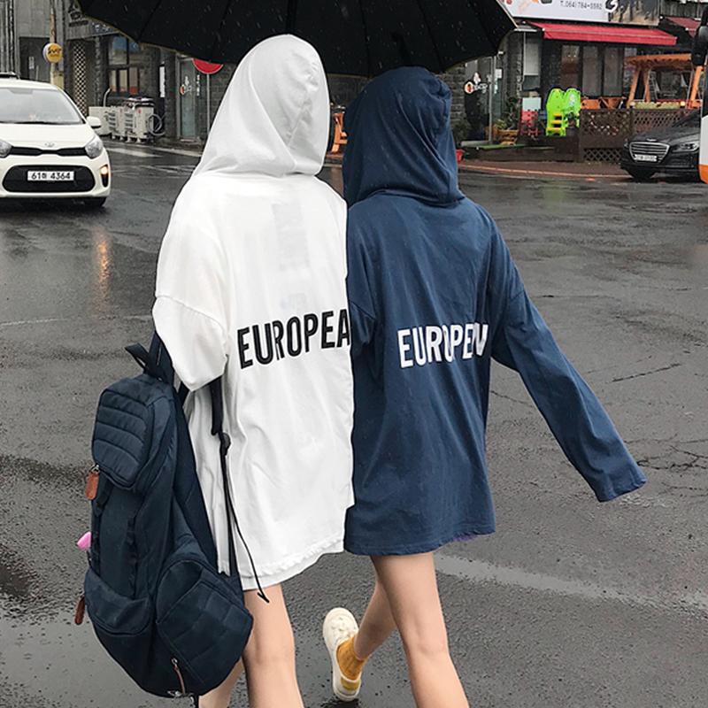 夏季女装2018新款韩版薄款防晒衣bf风宽松连帽中长款长袖外套学生