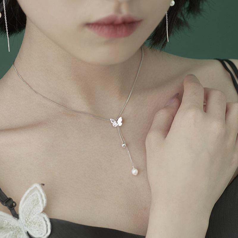 蝴蝶流苏项链S925通体纯银锁骨链女镂空母贝珍珠精致颈链可调节