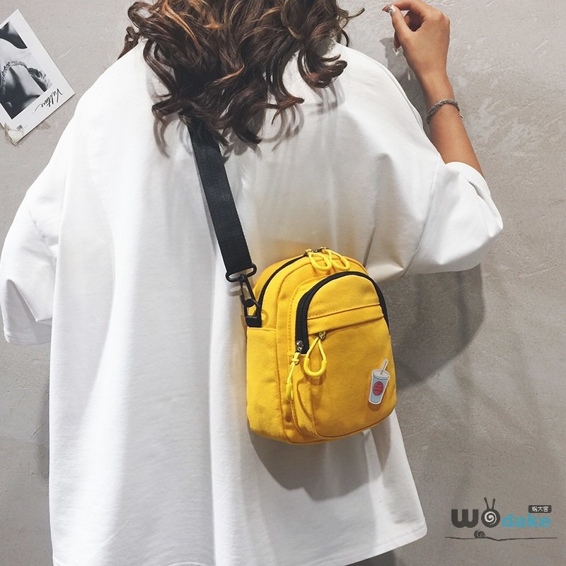 Cute small bag for girls, simple solid color for girls, small cloth bag for leisure, cute one Shoulder Messenger Bag trend