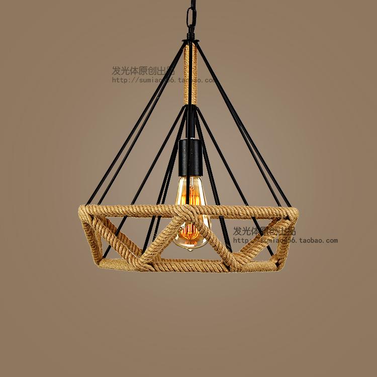 M10工业风复古铁艺钻石鸟笼麻绳吊灯式乡村创意loft吧台餐厅