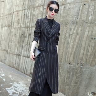 西装外套女2021秋冬装韩版修身显瘦气质女装上衣条纹长款西服大衣