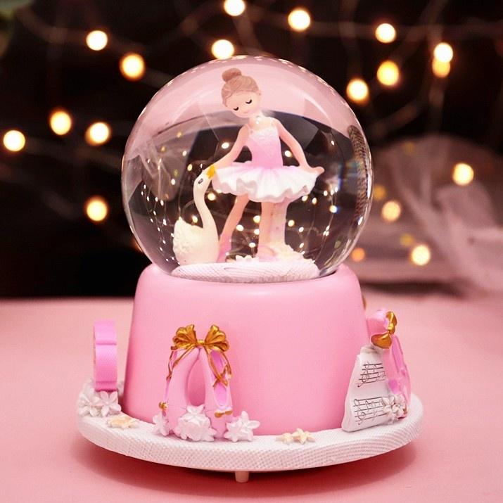 发光水晶球旋转音乐盒八音盒雪花跳舞公主小女孩女生儿童生日礼物