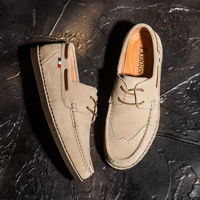 Spring genuine leather retro Brock carving mens shoes cattle tendon bottom reverse suede leather casual shoes one foot pedal sailboat shoes
