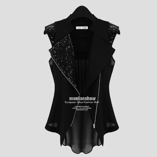 2020夏季薄款欧美时尚马甲女中长款大码显瘦雪纺开衫背心马夹外套价格
