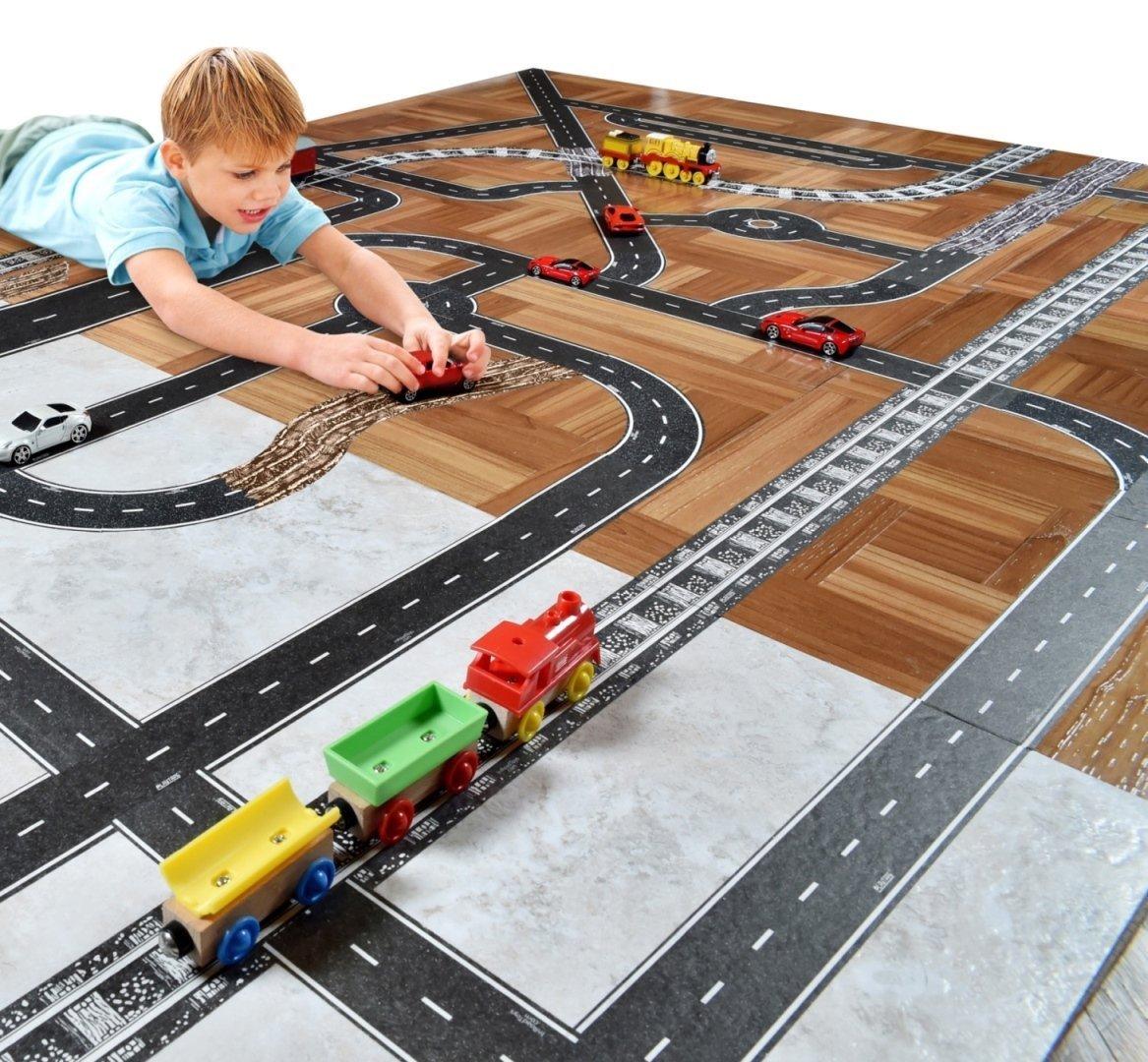 儿童DIY公路铁路道路胶带玩具马路交通场景贴纸火车轨道地板车道