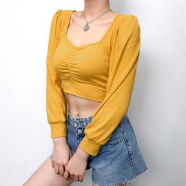 法式复古方领胸前交叉褶皱显胸针织T恤女短款露脐修身长袖上衣潮