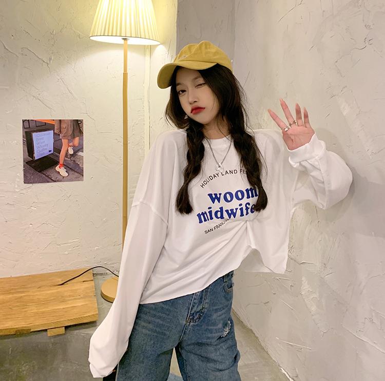实拍秋季新款字母卫衣圆领长袖女韩版宽松卫衣