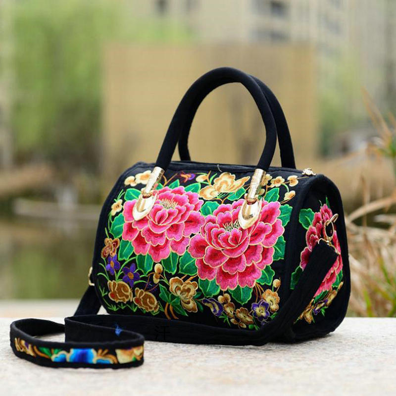 Cloth art Chinese national style double-sided embroidered bag embroidered canvas slung middle-aged and old womens bag handbag mothers bag
