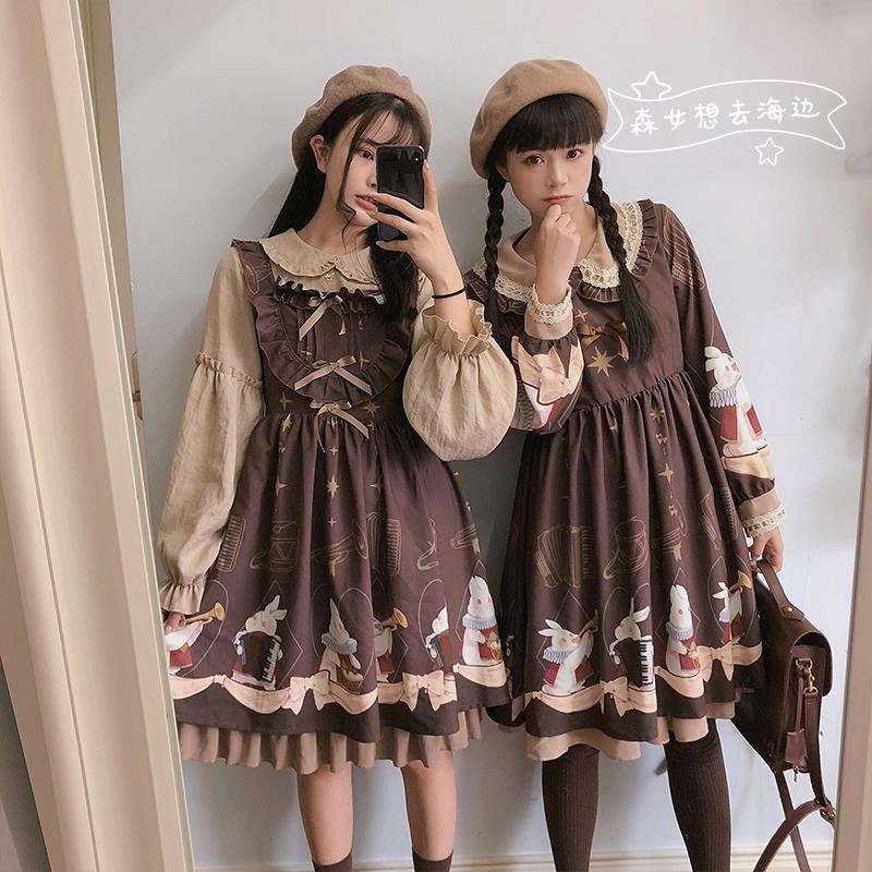 【森女想去海边】兔兔交响曲软妹可爱复古秋季长袖连衣裙