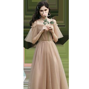 伴娘服2020新款香檳色氣質姐妹團平時可穿主持宴會晚禮服裙女冬季