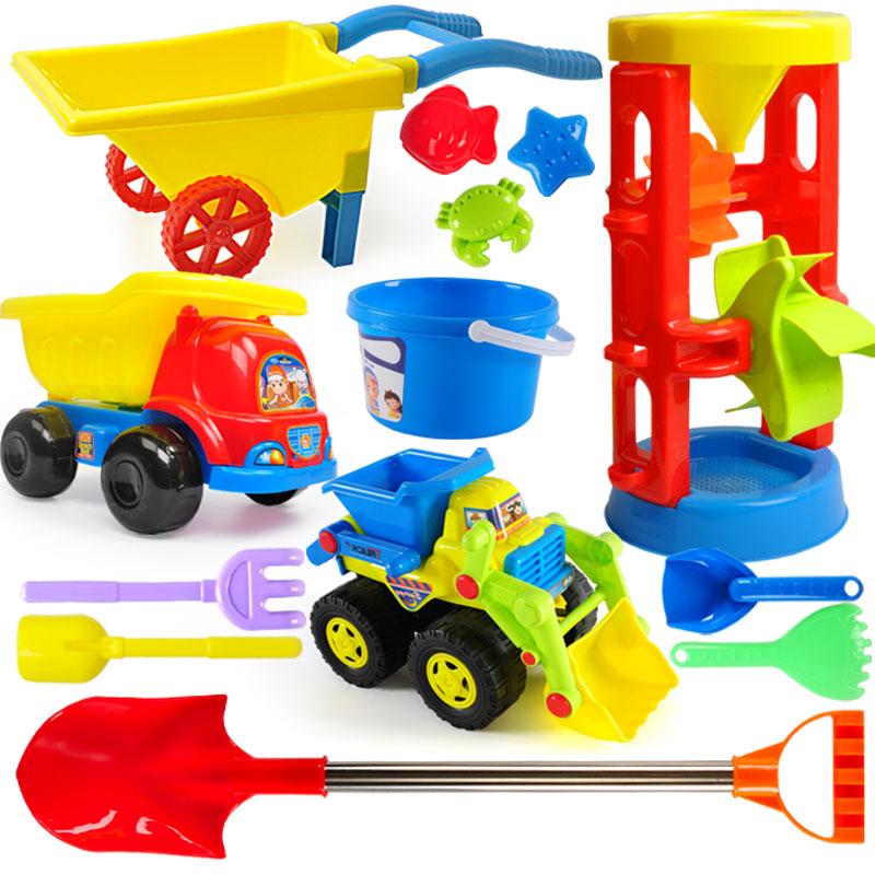 儿童沙滩玩具车套装大号铲子桶男女孩宝宝玩沙土工具挖沙漏决明子