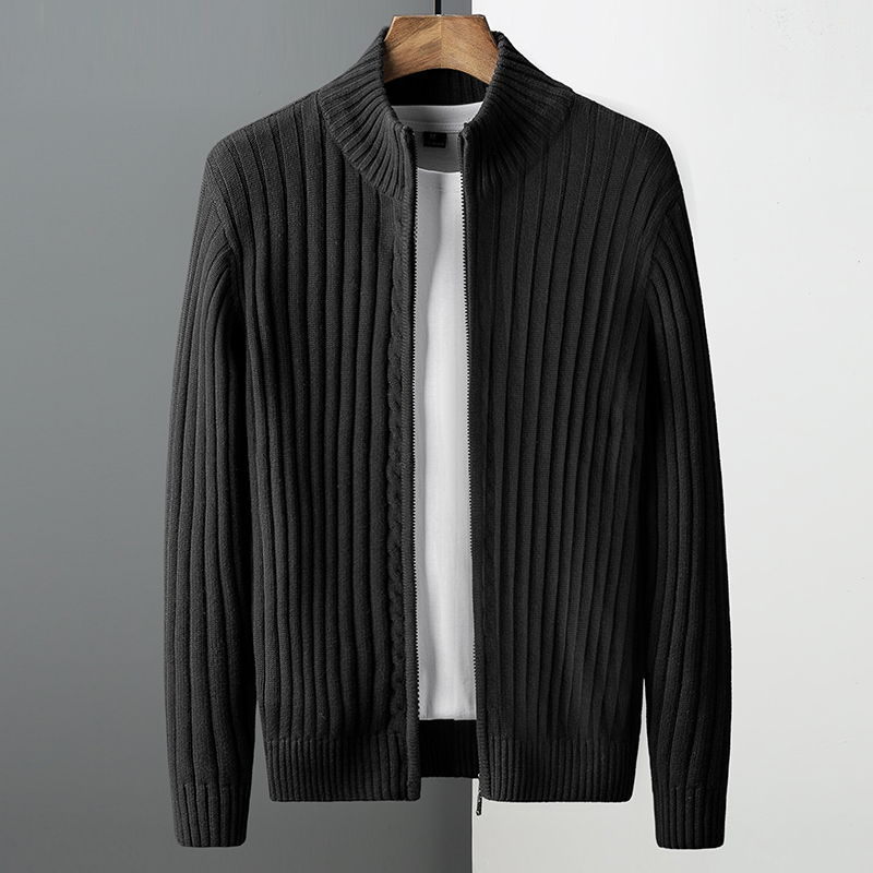 2021 spring and autumn new velvet thick cardigan sweater men's Korean version of the trend of outer wear knitted sweater line jacket winter