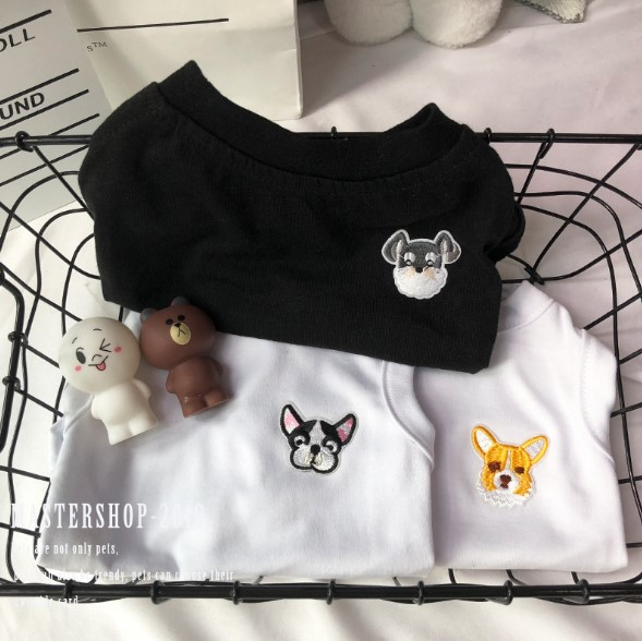 Embroidered dog head Teddy fadoubi bear cocky cat big and small spring and summer pet fashion clothing T-shirt summer
