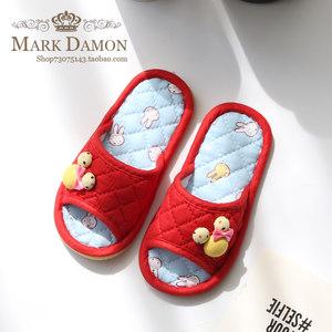 可爱儿童卡通米奇纯棉布艺拖鞋防滑软牛筋底居家室内夏季儿童拖鞋
