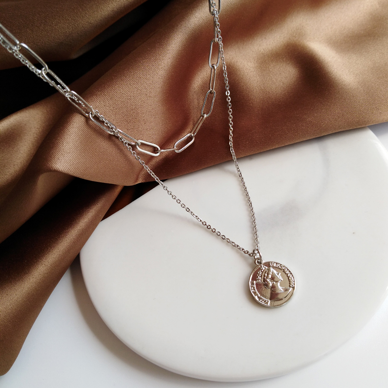 New necklace in summer 2020, individual creativity, European and American head image, neck chain, small group design, double clavicle chain