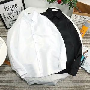 港风潮流修身男士长袖衬衫新款韩版内搭上衣文艺学生ins打底衬衣