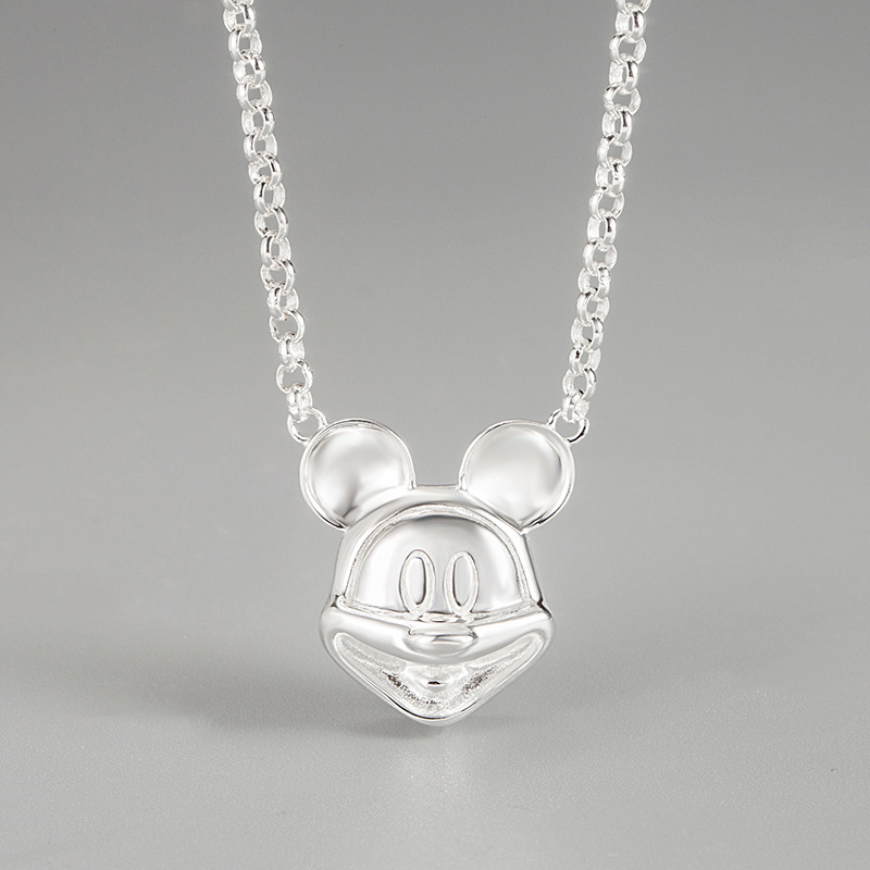 This seasons popular trend style item pendant cute Minnie S925 Sterling Silver chic Korean cool style necklace