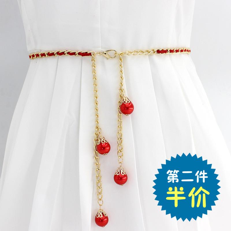 女装饰连衣裙细金属流苏链条配腰链