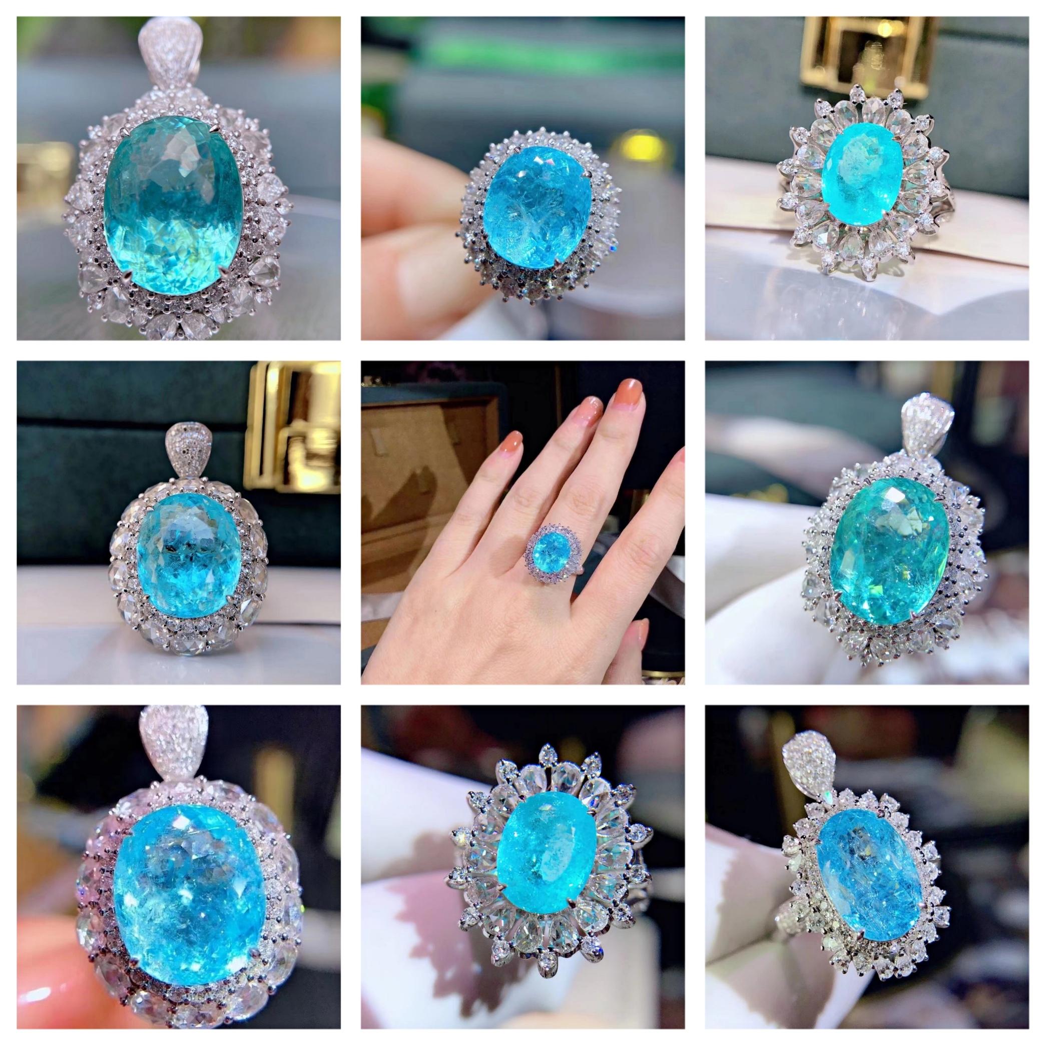 新品纯天然碧玺帕拉伊巴霓虹蓝裸石戒指项链吊坠私人定制高端彩宝