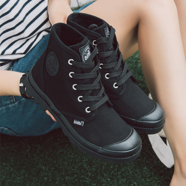 Black high platform canvas shoes womens Korean summer and autumn military training shoes students camouflage shoes cloth shoes palamartin boots