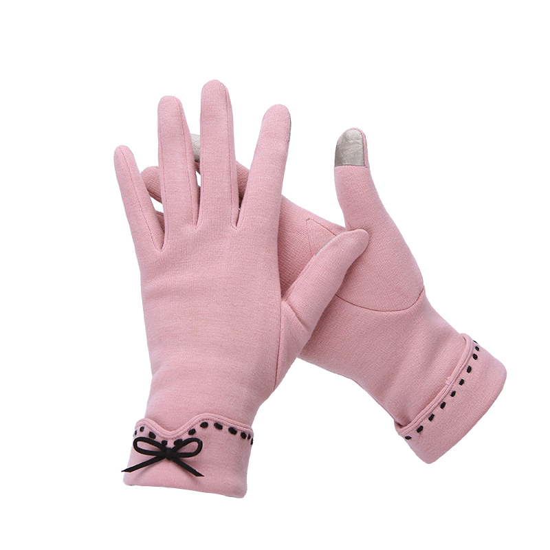 Touch screen gloves Plush ladies warm autumn and winter thin short plush thickened gloves cycling five fingers