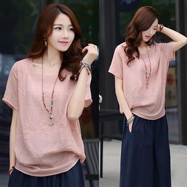 Summer 2020 solid color womens T-shirt womens short sleeve loose casual large half sleeve top art small shirt cotton shirt
