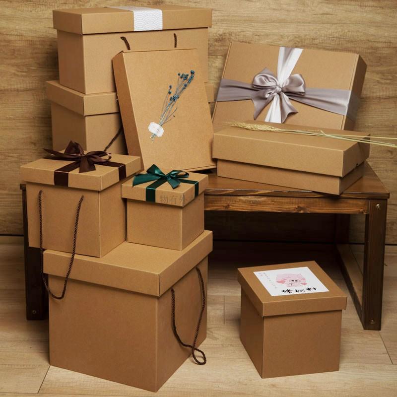 牛皮纸正方形大号定制礼品盒