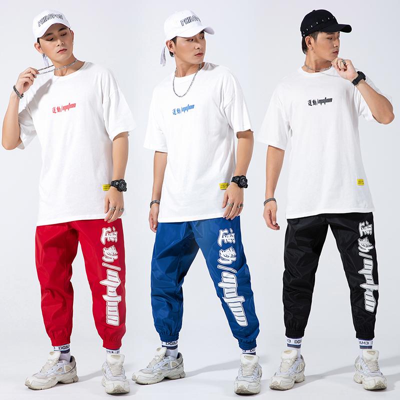 2019新款套装男士短袖t恤运动嘻哈潮牌两件套休闲装 1924-P95