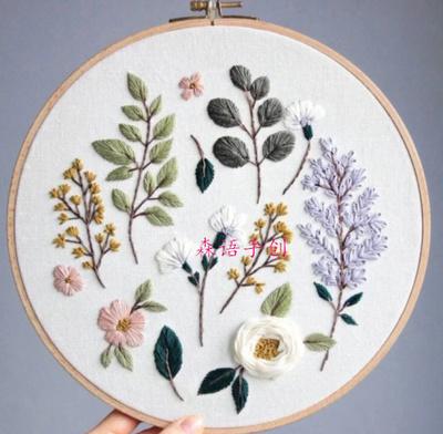 森语手创掌柜推荐花卉系列刺绣材料包含18CM竹绣绷乱针绣可定制