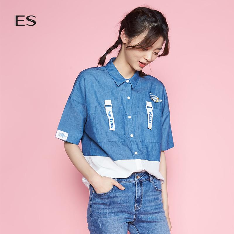 艾格ES2018夏季拼色卡通翻领宽松短袖休闲衬衫女8E031408344