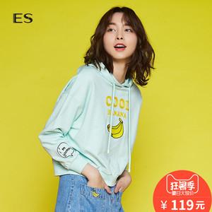 艾格ES2018夏新品青春连帽休闲针织衫女8E032802937 119元