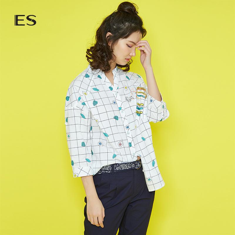 艾格ES2018夏季女七分袖印花格纹宽松纯棉衬衫8E031408886