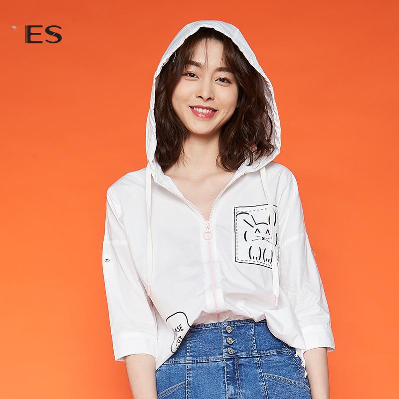 艾格ES2018夏季简约时尚连帽韩版七分袖衬衫女8E031410486