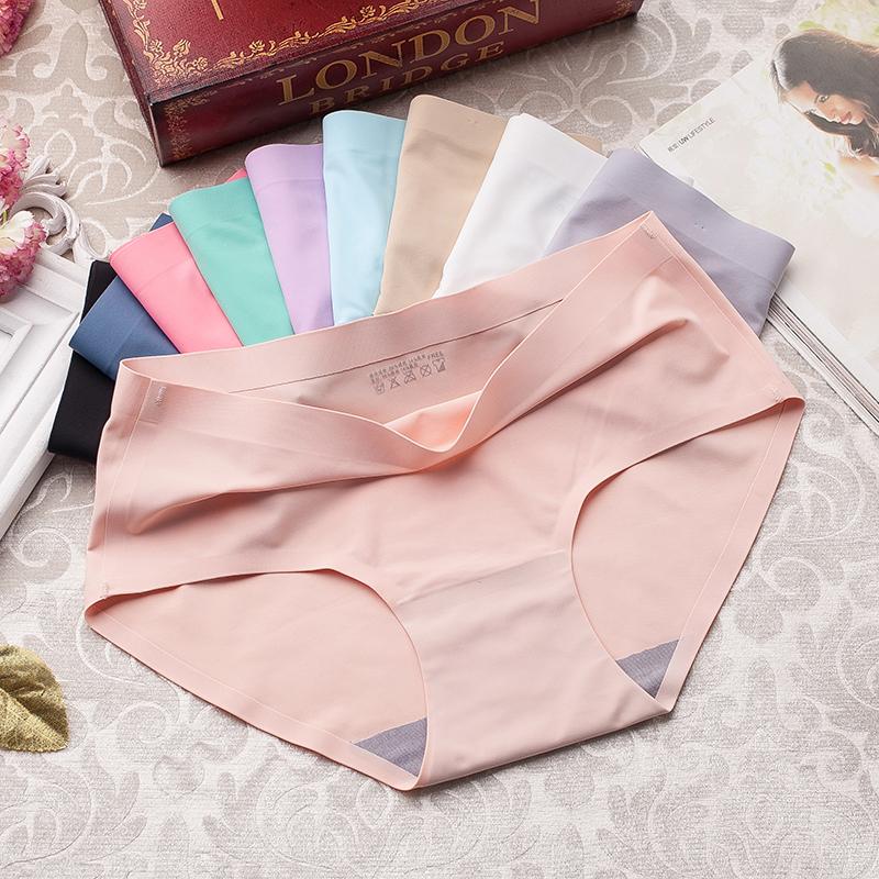 5条装 中腰无痕内裤女冰丝一片式透气女生纯色纯棉三角裤夏季性感