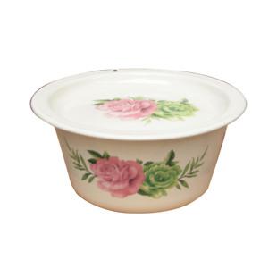 包郵特厚搪瓷 平蓋洗手碗搪瓷盆帶蓋平底盆湯碗豬油碗帶蓋12-24cm