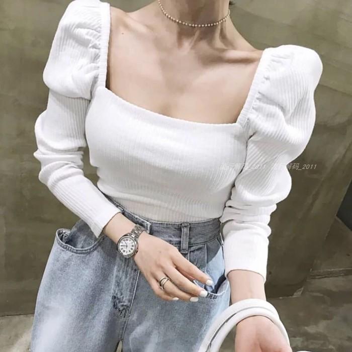 韩国2019早秋新款泡泡袖方领打底衫热销168件买三送一