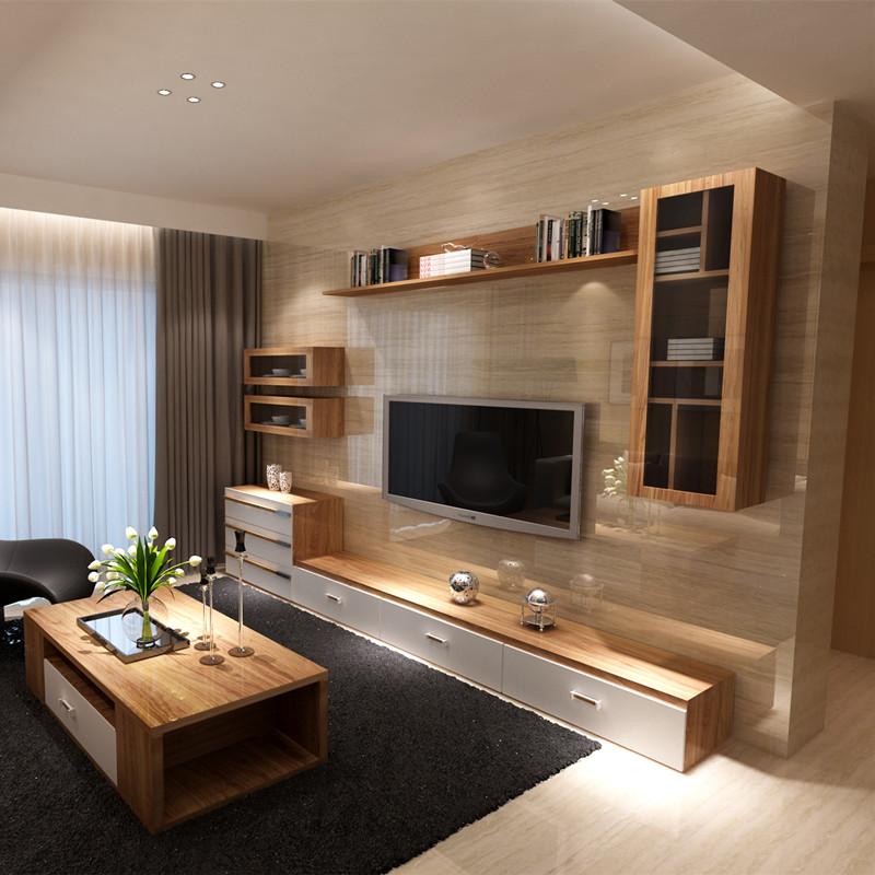 新红阳客厅电视柜组合茶几套装背景墙柜实木颗粒简约现代挂柜橡木