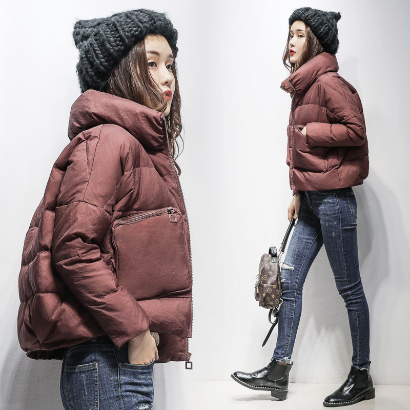 Down jacket womens short 2020 winter new small bread jacket stand collar white down warm fashion coat fashion