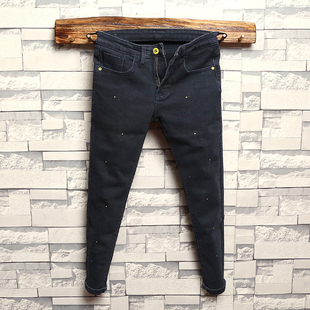 男 漆点小脚裤 弹力显瘦百搭铅笔裤 九分牛仔裤 个性 水洗做旧黑修身