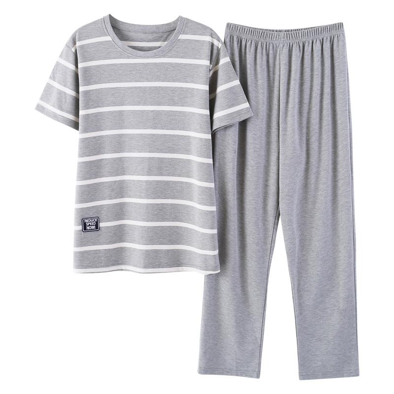 南极人男士睡衣男夏季纯棉短袖长裤春秋天男款全棉大码家居服套装