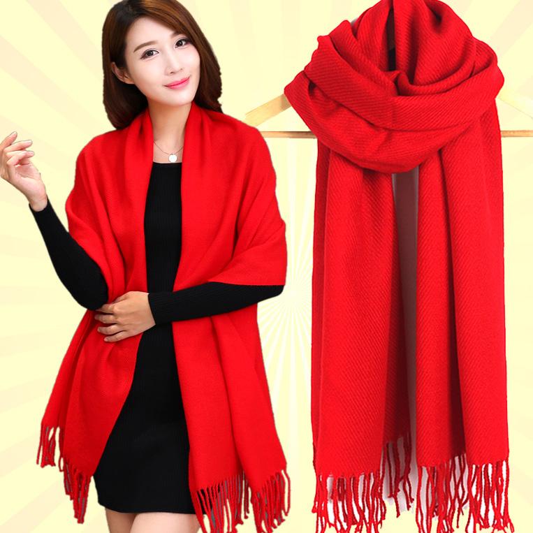Ежегодной большой толстый длинный шарф шаль красный весной и осенью двойного корейских женщин зимой шарф универсальный сплошной цвет большой