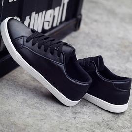 女鞋2020新款四季小白鞋低帮平底黑色皮面板鞋秋季休闲鞋韩版百搭图片