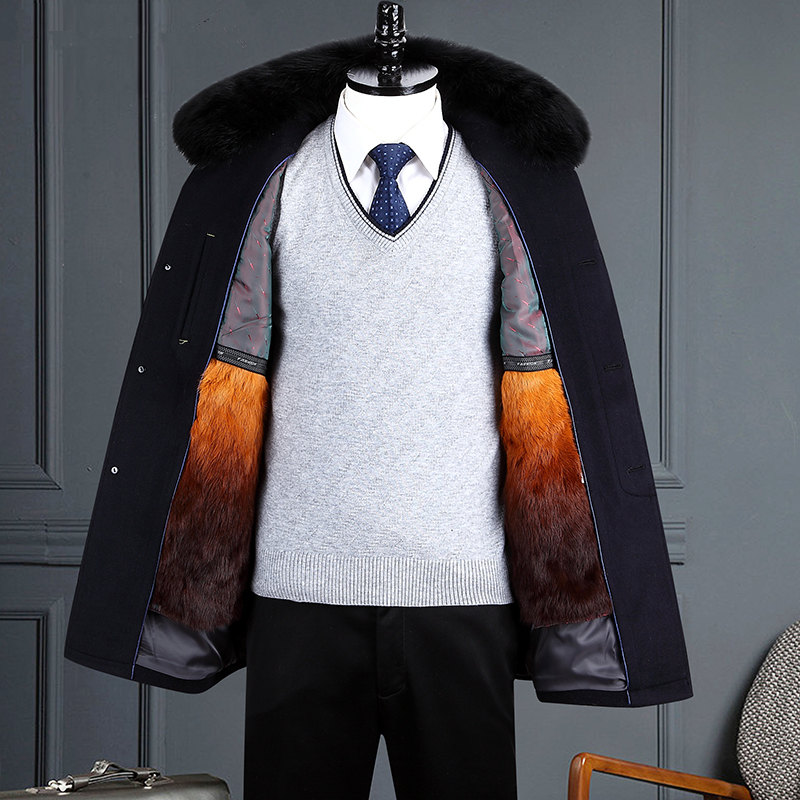 Winter mens wool Nizi coat medium long mens mink hair collar middle-aged and elderly dads thickened cashmere coat