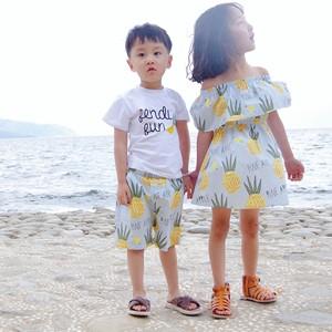 2021夏装儿童 网红款亲子装一家四口沙滩度假母女装家庭装 姐弟装