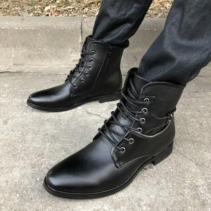 秋冬保暖加绒马丁靴男士英伦英伦皮靴高帮尖头短靴系带内增高靴子