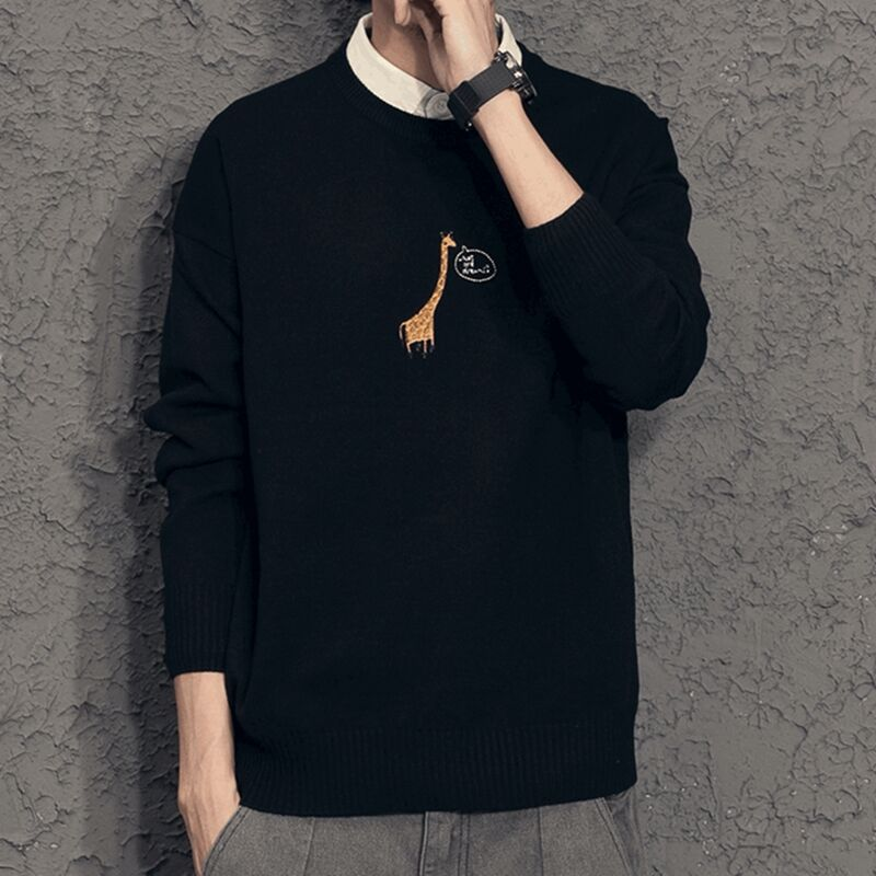 Spring and autumn new shirt collar sweater mens trend bottomed shirt thin fake two sweater mens coat