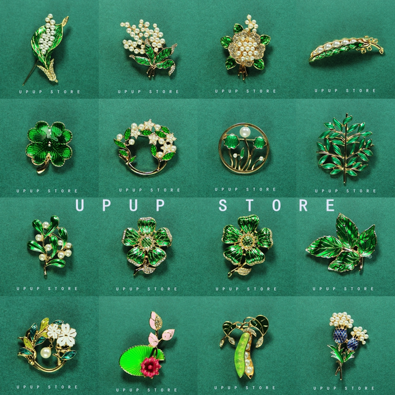 Retro Green brooch with leaves pea pod Pearl Flower Pin