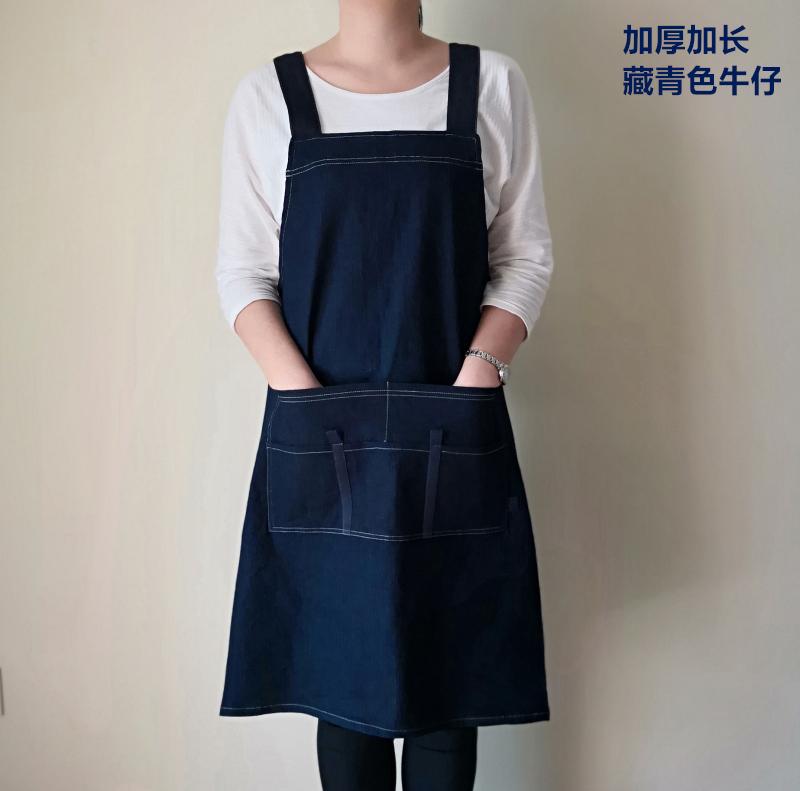 加长加大加厚男士女款牛仔布日式围裙日本耐磨防污厨房店员工作服